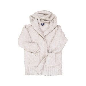 Express white teddy long open hooded cardigan